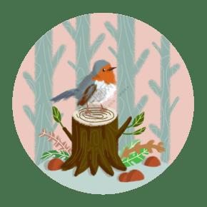 惊蛰树林中鸟和植物生长PNG