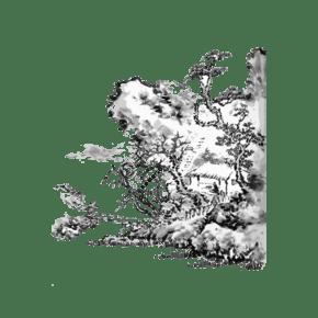 水墨山水國畫線條東方黑白簡約意境PNG