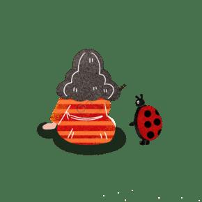 卡通手繪七星瓢蟲和女孩插圖