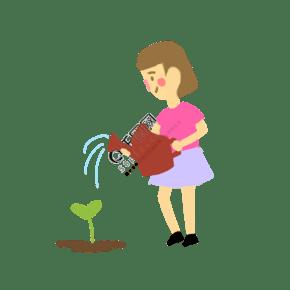 植树节孩子在为树苗浇水