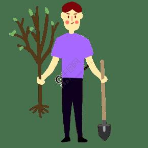 植树节男生准备种树