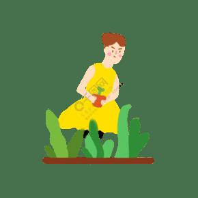 女孩在植树节种树苗