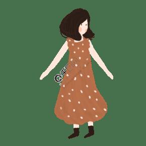 咖啡色點點連衣裙的女孩免摳圖
