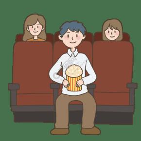 一个人看电影电影院插画免抠元素下载
