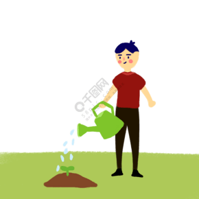 植树节可爱男生浇水