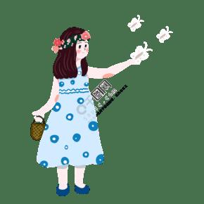 卡通玩蝴蝶的可愛女孩免摳圖