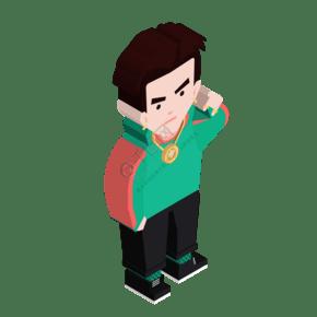卡通3D立体男孩免抠图