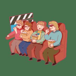 朋友相约电影院吃爆米花看电影