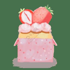 手繪下午茶甜品草莓蛋糕