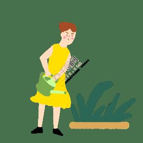 植树节可爱女孩浇水