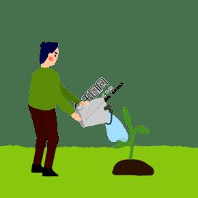 植树节男生在给树苗浇水