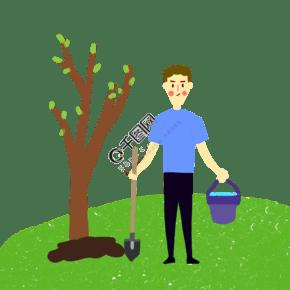 在植树节种树苗的男生