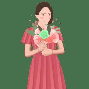 拿著一束花穿著紅色裙子的女孩免摳圖