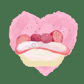 手繪水果蛋糕粉色少女