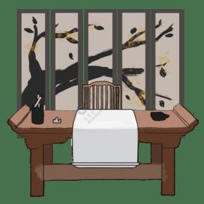 复古古代中国水墨风书桌屏风