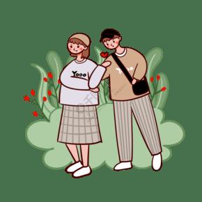 卡通可爱矢量春游穿情侣装卫衣戴帽子的情侣