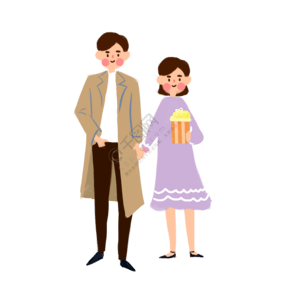 情侣一起去电影院看电影