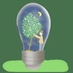 在灯泡里的发光的树和人