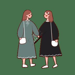 手绘卡通矢量简约3.8女生节穿连衣裙逛街的闺蜜