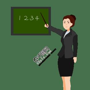 矢量卡通女教師黑板