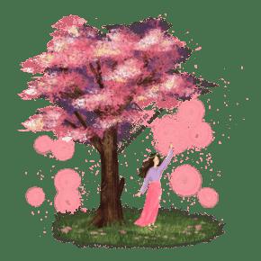 小清新森系唯美樱花树下的少女