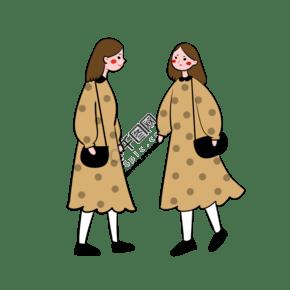 手绘卡通矢量简约3.8女生节穿闺蜜装的闺蜜