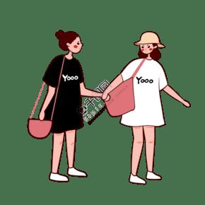 手绘卡通矢量简约3.8女生节穿黑白短袖的女生