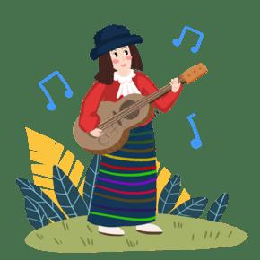 春季吉他女孩戶外唱歌手繪人物