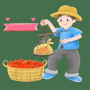 卖水果的小男孩插画