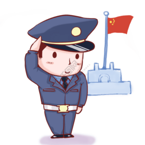 卡通手繪警察升國旗儀式敬禮