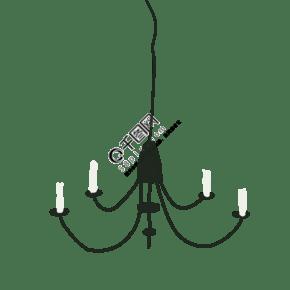 欧式吊灯卡通png素材