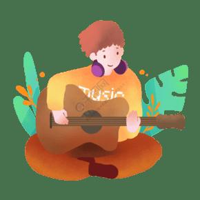 春游公園里彈吉他的男生