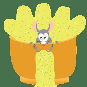 黃色偷吃的小老鼠元素