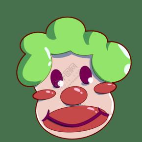 绿色头发的小丑插画