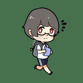 開學季可愛拿書眼鏡男孩