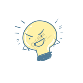 可爱蓝色调皮灯泡