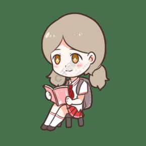 可愛上學看書女孩
