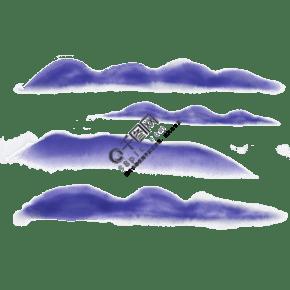 中国风蓝色水彩山水茶叶食品书法旅游业PNG免扣