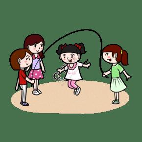 卡通兒童小女孩玩耍跳繩png透明底
