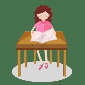 卡通女孩學習看書