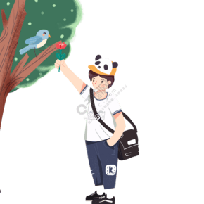 卡通小男孩背着包包免抠图