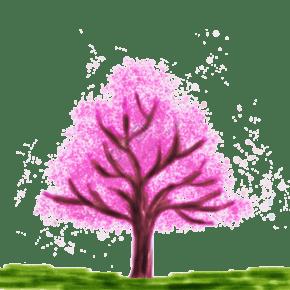 中国风水彩樱花树生活用品封面产品封面PNG免扣