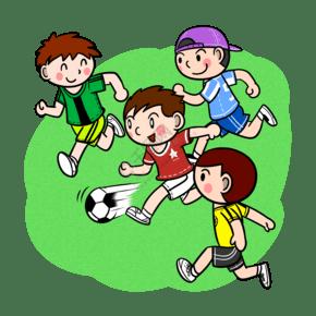 卡通兒童踢足球png透明底