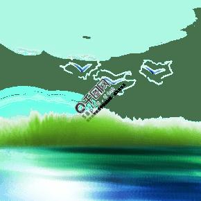 中国风漂亮的水彩山水画蓝绿美术艺术生活PNG免扣