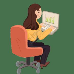 卡通女孩在打電腦免摳圖