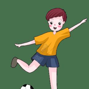 卡通運動系兒童插畫之足球少年