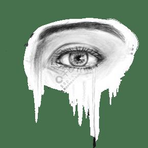 眼泪黑白写实眼睛人物流泪免抠