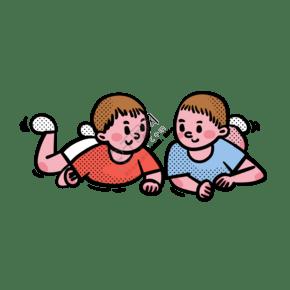 卡通矢量免抠可爱两个趴着的婴儿宝宝