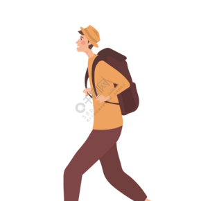 小男孩背着包袱在旅行