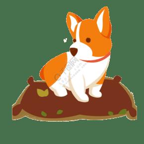 卡通小狗坐在枕頭上免摳圖